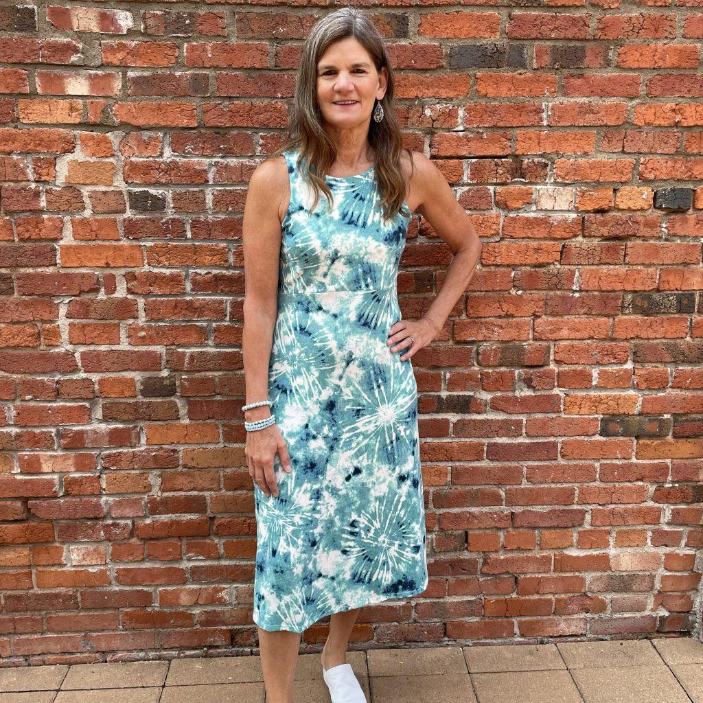 Blue, Green and White Tye Dye Dress | Ivy Rose Longmont