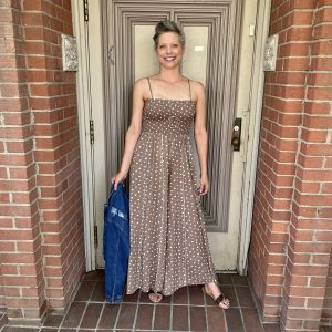 Tan Polka Dot Jumpsuit | Ivy Rose Longmont