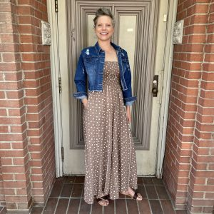 Light Brown Polka Dot Dress with Blue Jean Jacket