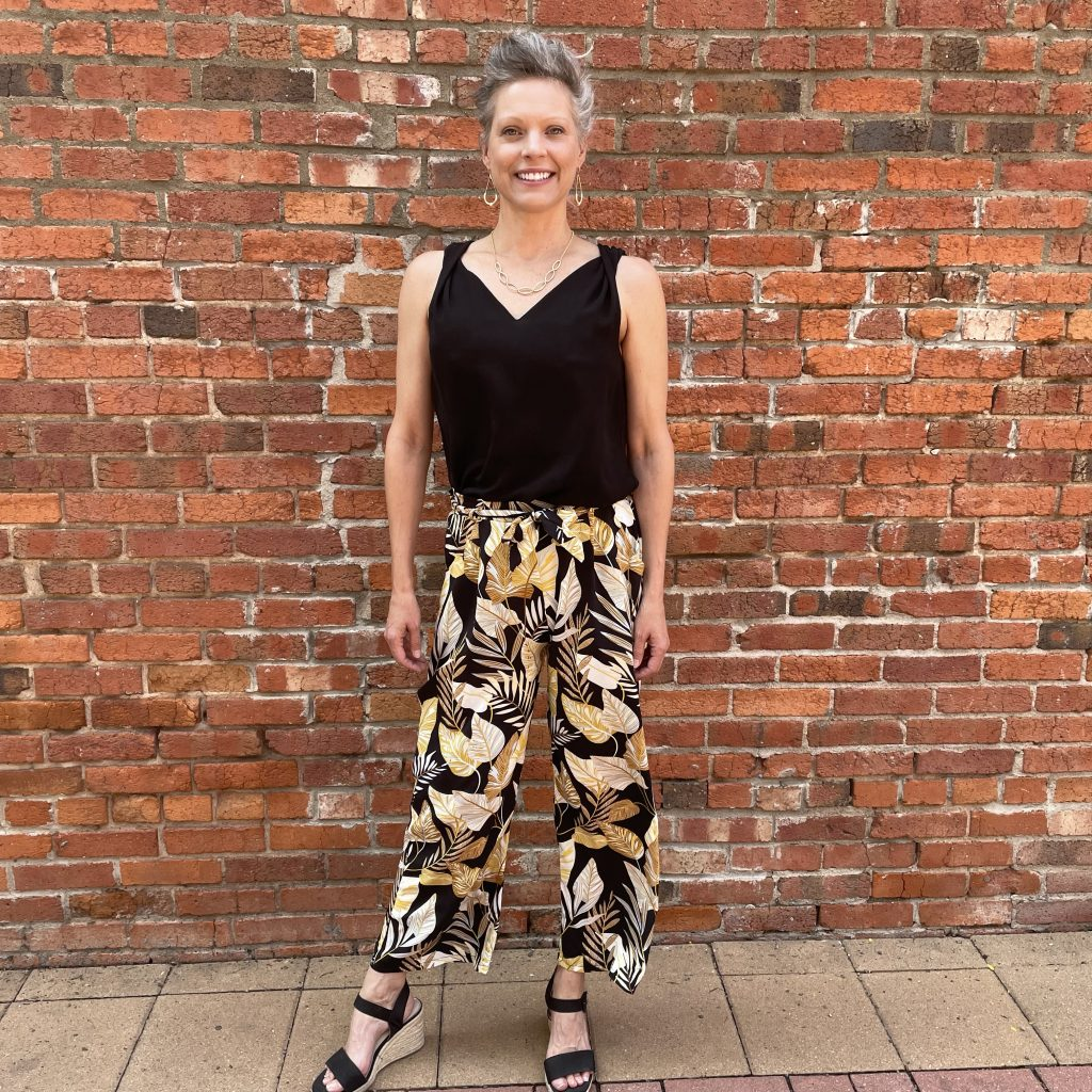 Black Pants with Gold Leaves | Ivy Rose Longmont