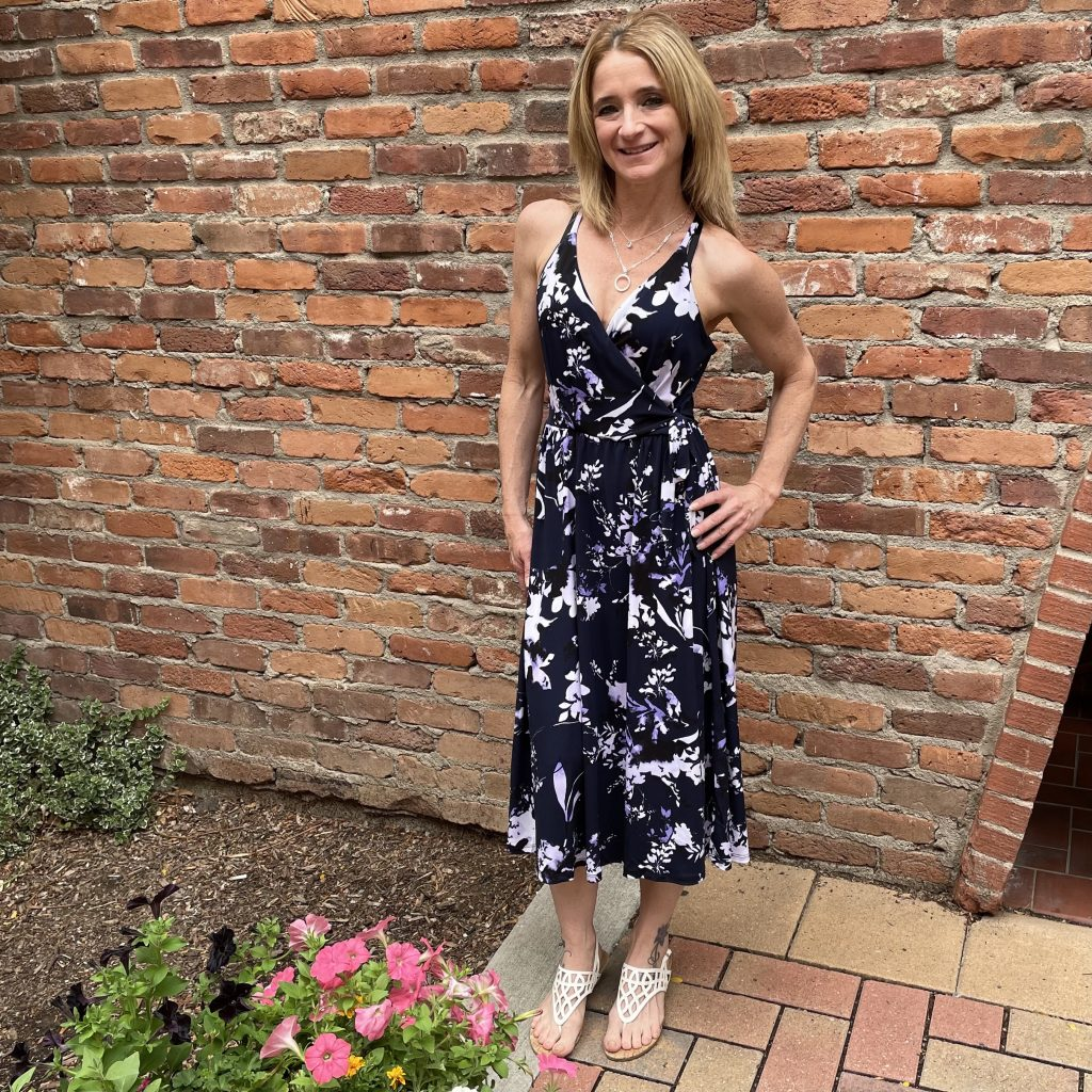 Floral Black and White Dress with Hints of Purple