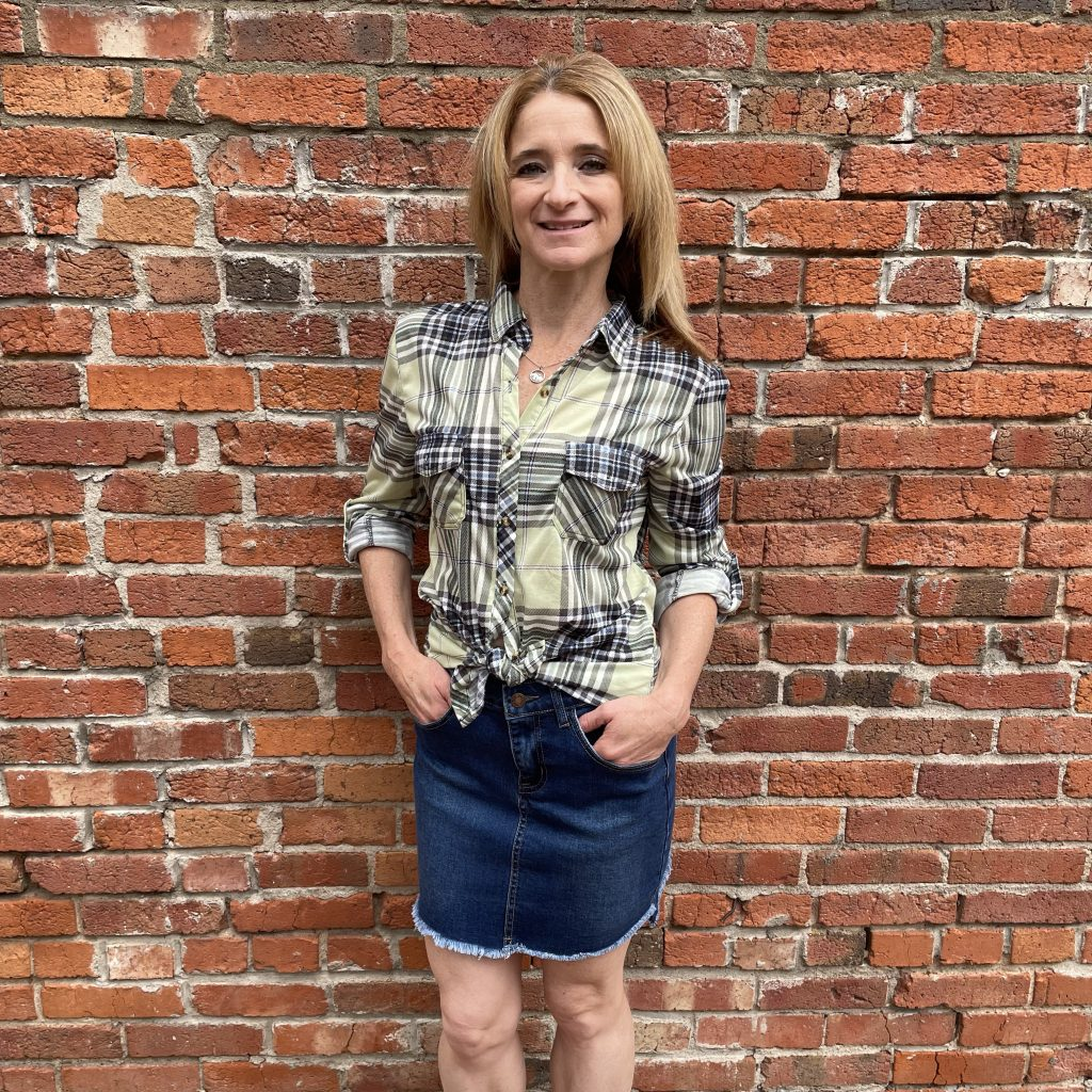 Jean Skirt with a Yellow and Black Plaid Top