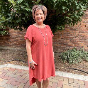 Pink Dress with Fringe Bottom