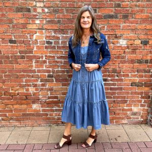 Blue Denim Jacket Paired with Blue Dress