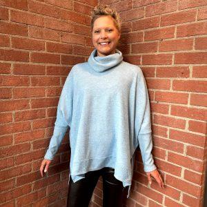 Light Blue High Neck Sweater