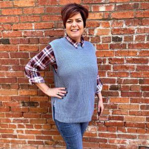 Grey Sweater Vest over Flannel Shirt
