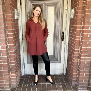 Oversized Dress Shirt with Black Tights